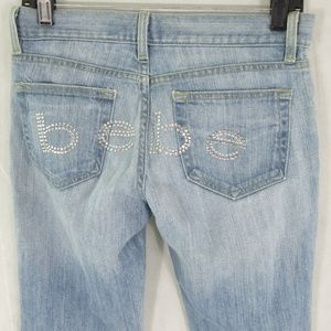 Bebe jeans bling sequins spell out sz 28